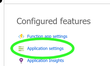 Application settings feature in Azure Functions