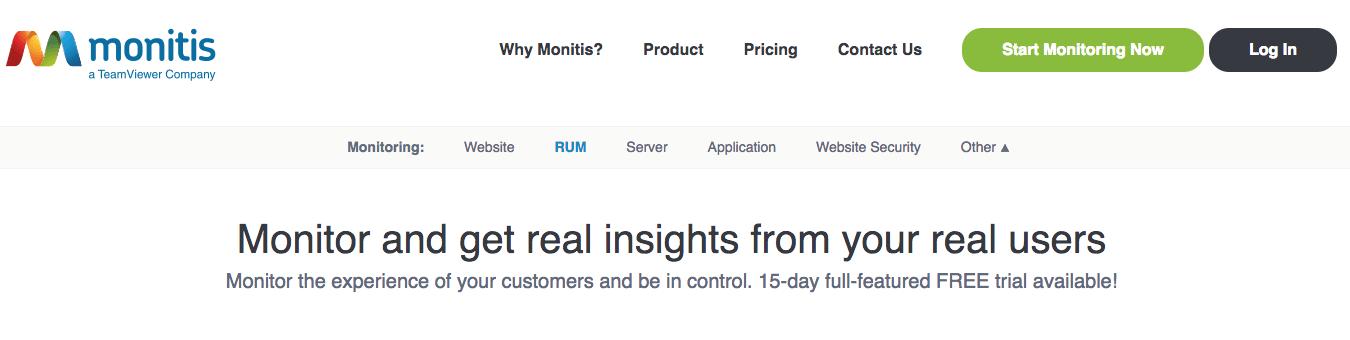 Screenshot showing Monitis' RUM