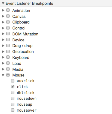 Debug Opera event breakpoints