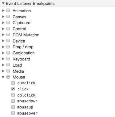 Debug Opera event breakpoints