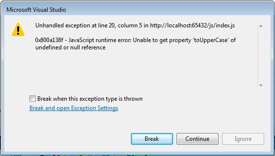 Visual studio error breakpoint
