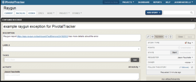 image showing Pivotal Tracker's analytics feature
