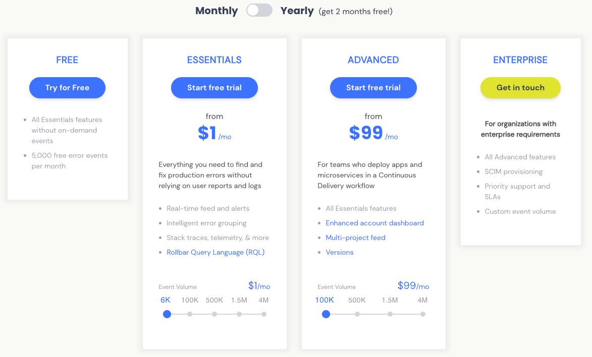 Rollbar Pricing