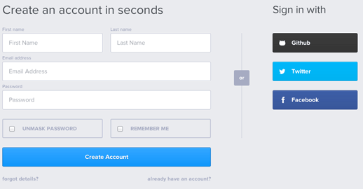 Create an account in seconds signup
