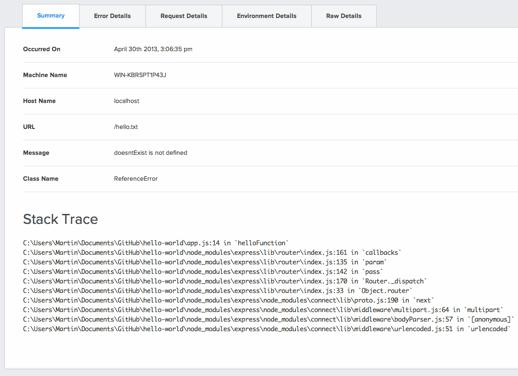 raygun node.js dashboard