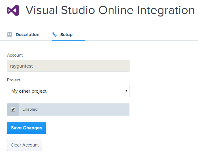 visual studio online project selection