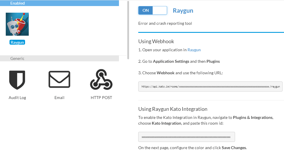 Raygun.io Kato integration