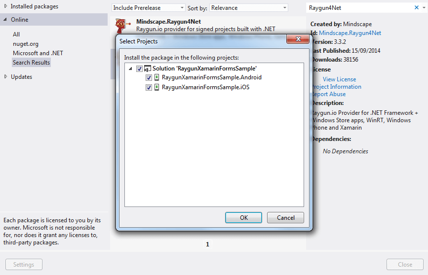 Install Raygun4Net with NuGet