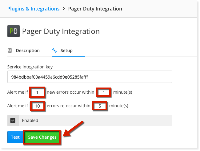 Image of how to integrate Pagerduty with Raygun and choose error alerts