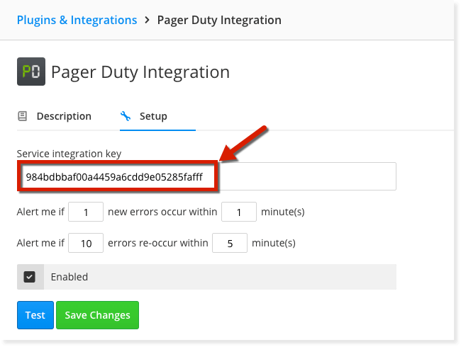 how to retreve the integration key setup PagerDuty