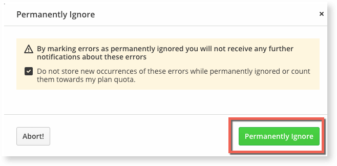 Manage your Raygun error quota by permanently ignoring errors