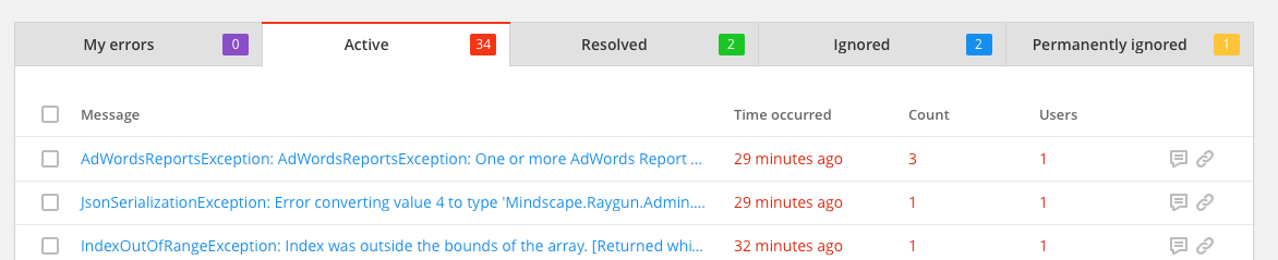 raygun quick tips error groups active errors