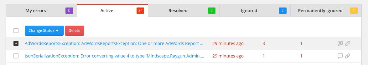 raygun quick tips error groups select error