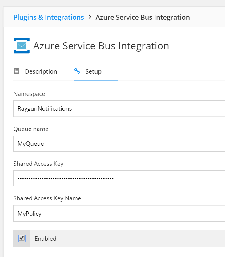 Image showing a screenshot Azure Service Bus 6 inside Raygun Crash Reporting