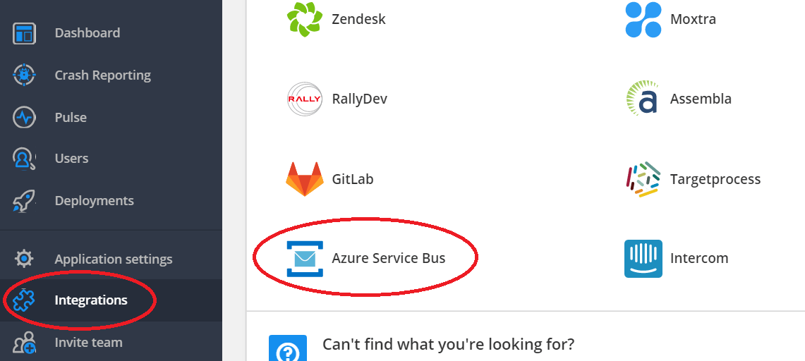 Azure Service Bus is plainly shown in the integrations menu in the Raygun dashboard