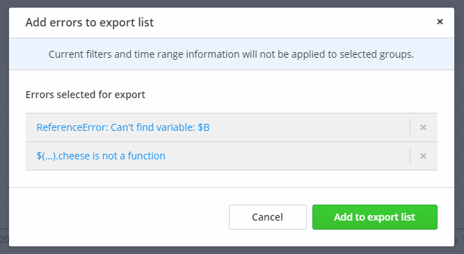 Adding errors to the export functions list is easy