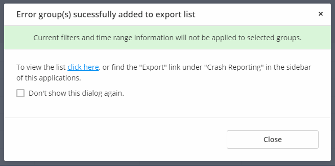Error groups have been successfully added to the export functions list