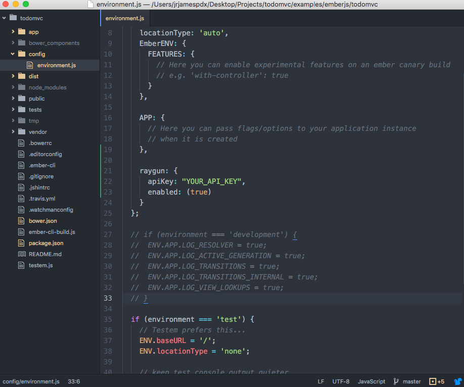 editor showing config/environment.js in an ember cli app