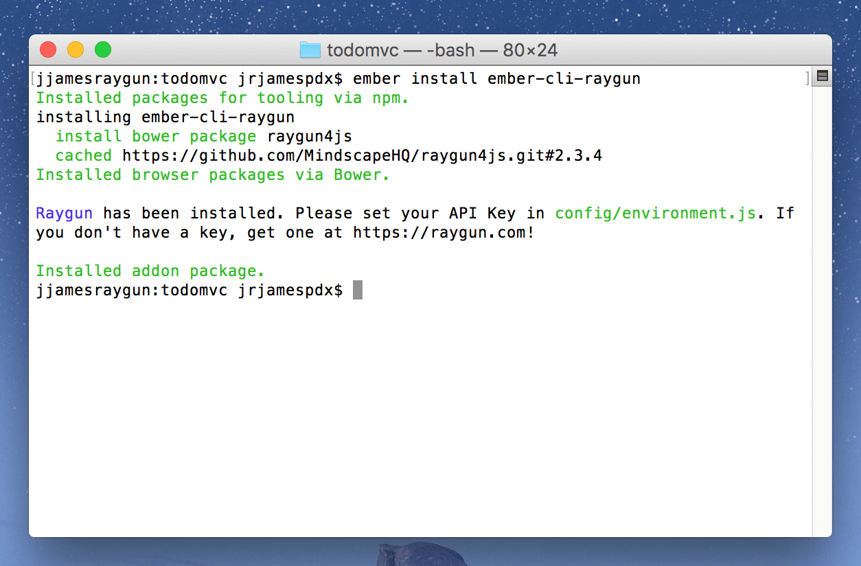 terminal showing install completed for an ember cli app