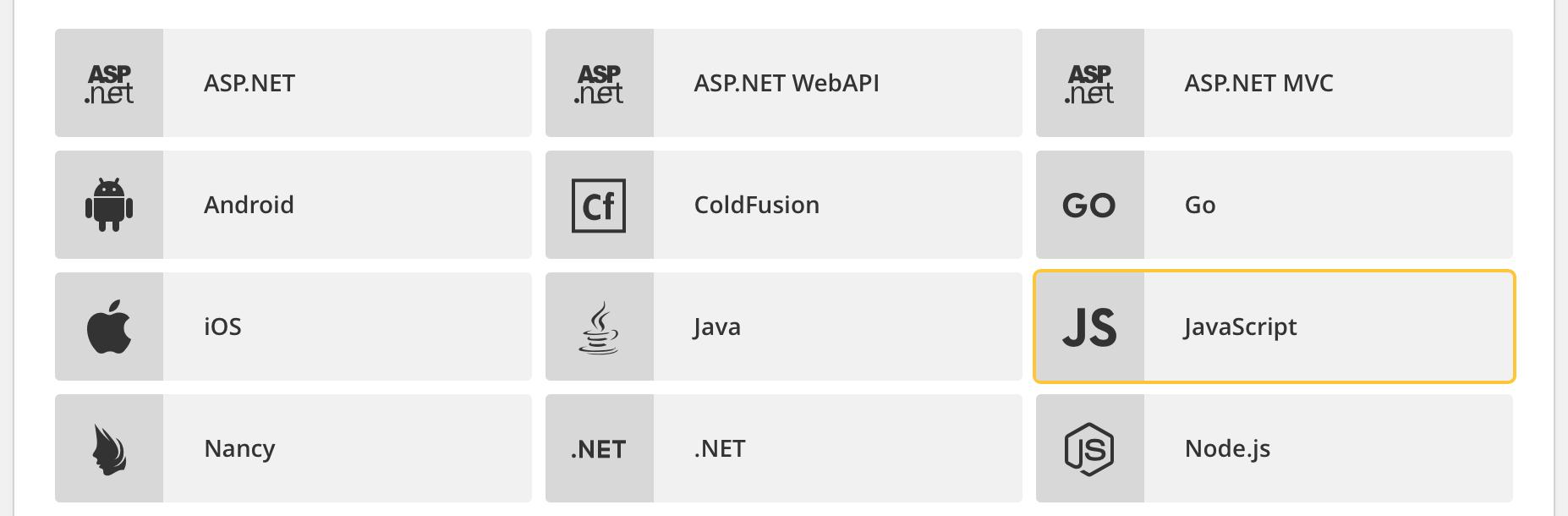 raygun javascript language option