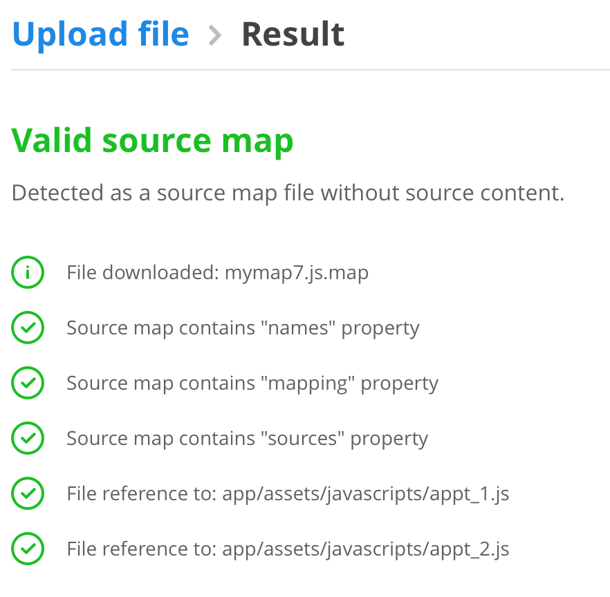 valid raygun source map result which should help to find errors in minified javascript (for rails applications)