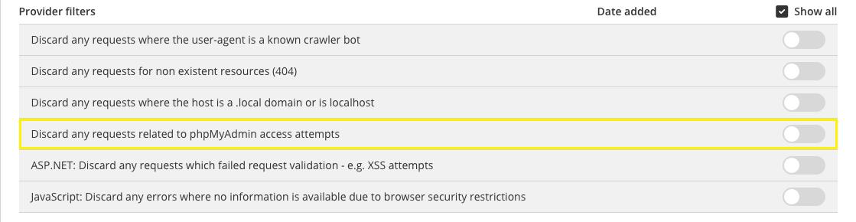 filter inbound errors by phpMyAdmin