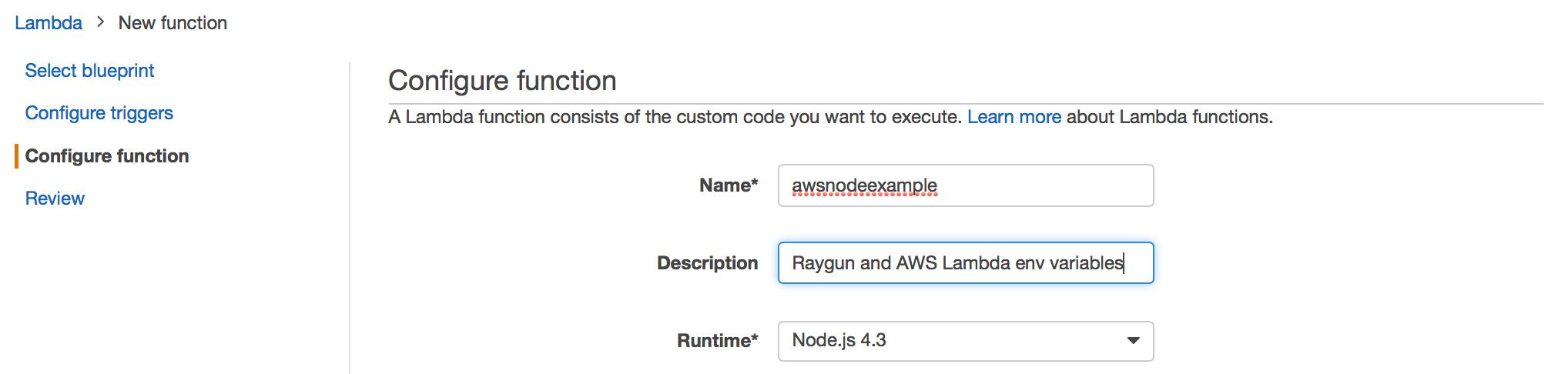 aws lambda config function