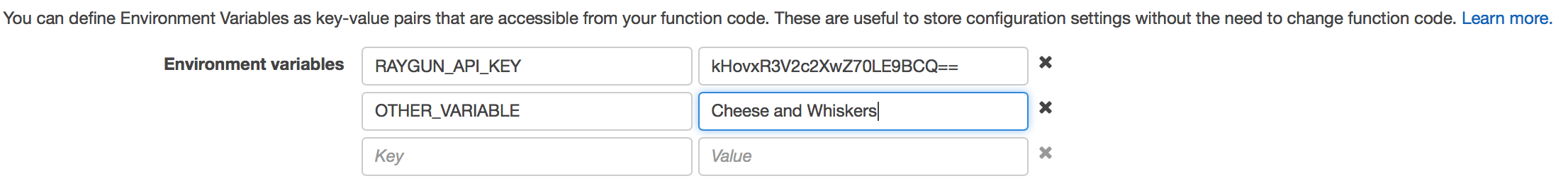 aws lambda other variable key value