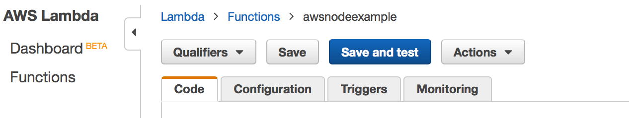 aws lambda save and test button
