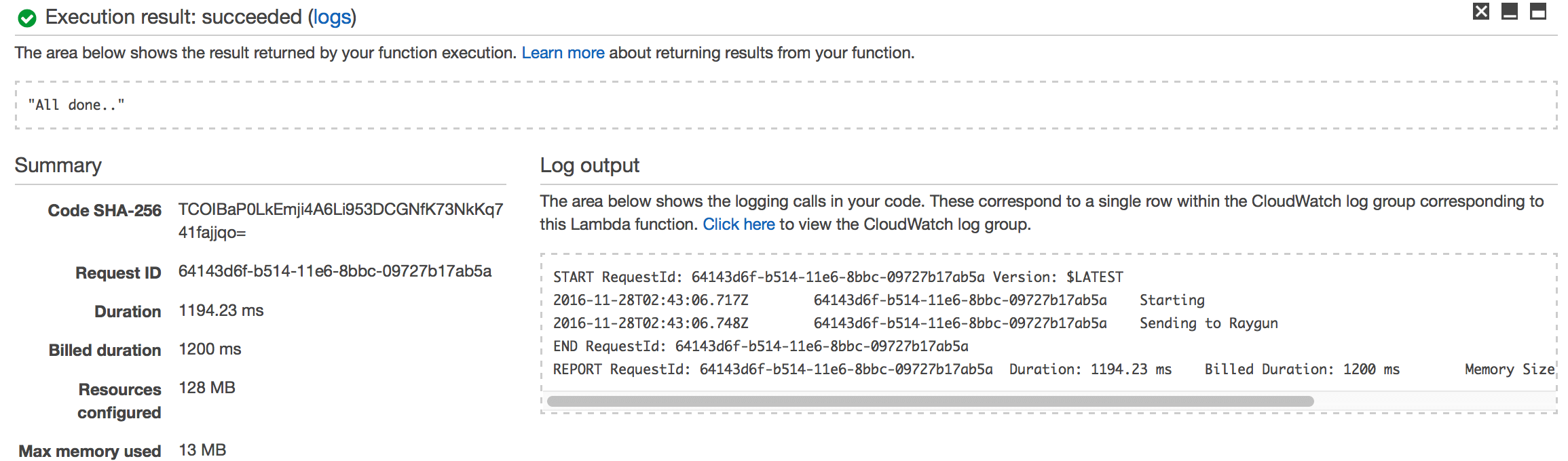 aws lambda test success