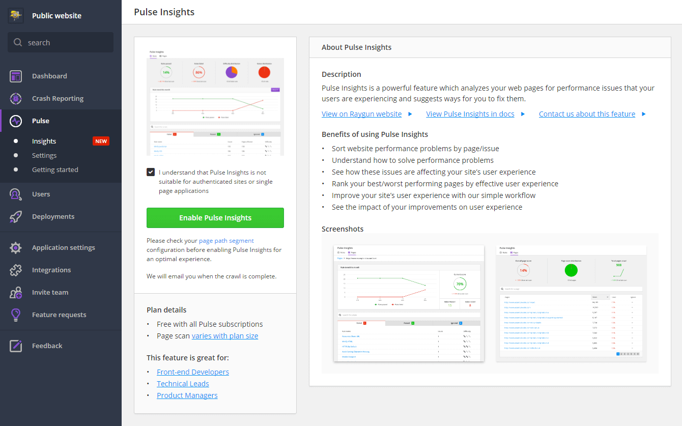 enable Pulse Insights inside the Raygun dashboard