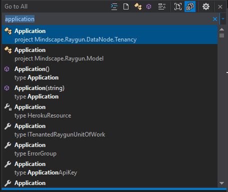 Go to all search is a powerful feature of the new Visual Studio RC