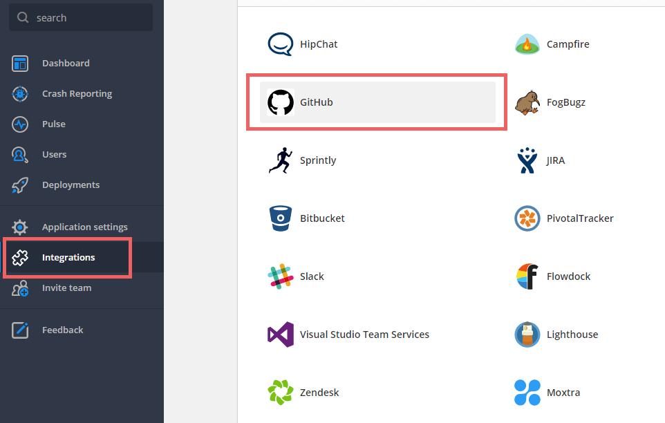 Head to the integrations tab to begin setting up the raygun and github enterprise integration