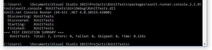 Unit testing frameworks results