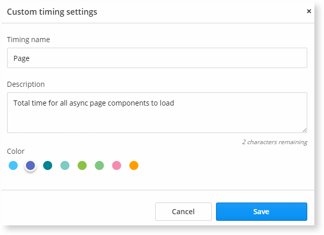 Custom timings settings allows you to choose a color for each