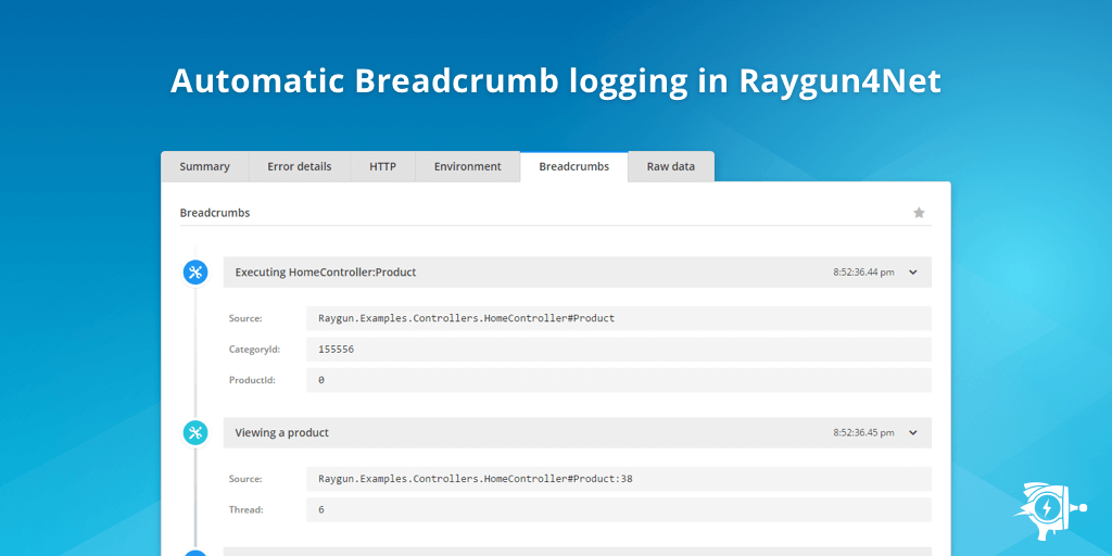 breadcrumb logging in raygun4Net