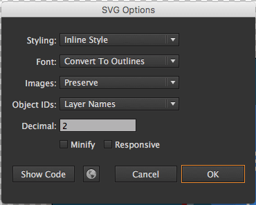 css and svg animation : the SVG option s in Adobe Inllustrator