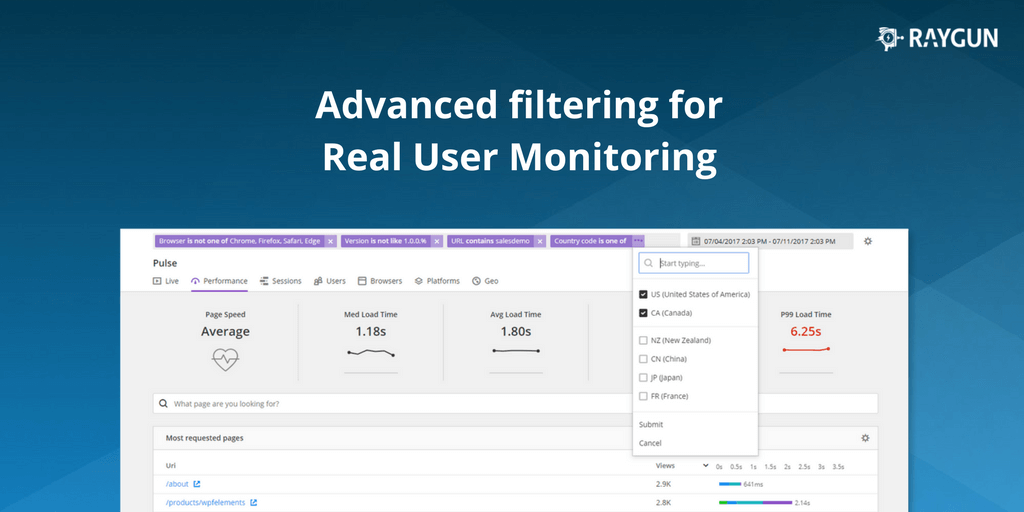Announcing Pulse Filters for Raygun Real User Monitoring