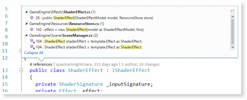 Visual Studio features - View all references
