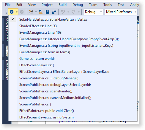 Visual Studio features: navigate backward and forward