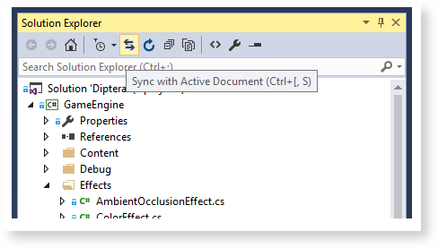 Visual Studio features: Sync with active document