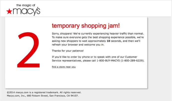 Macy's infrastructure couldn't cope with the traffic spike last year, and experienced downtime