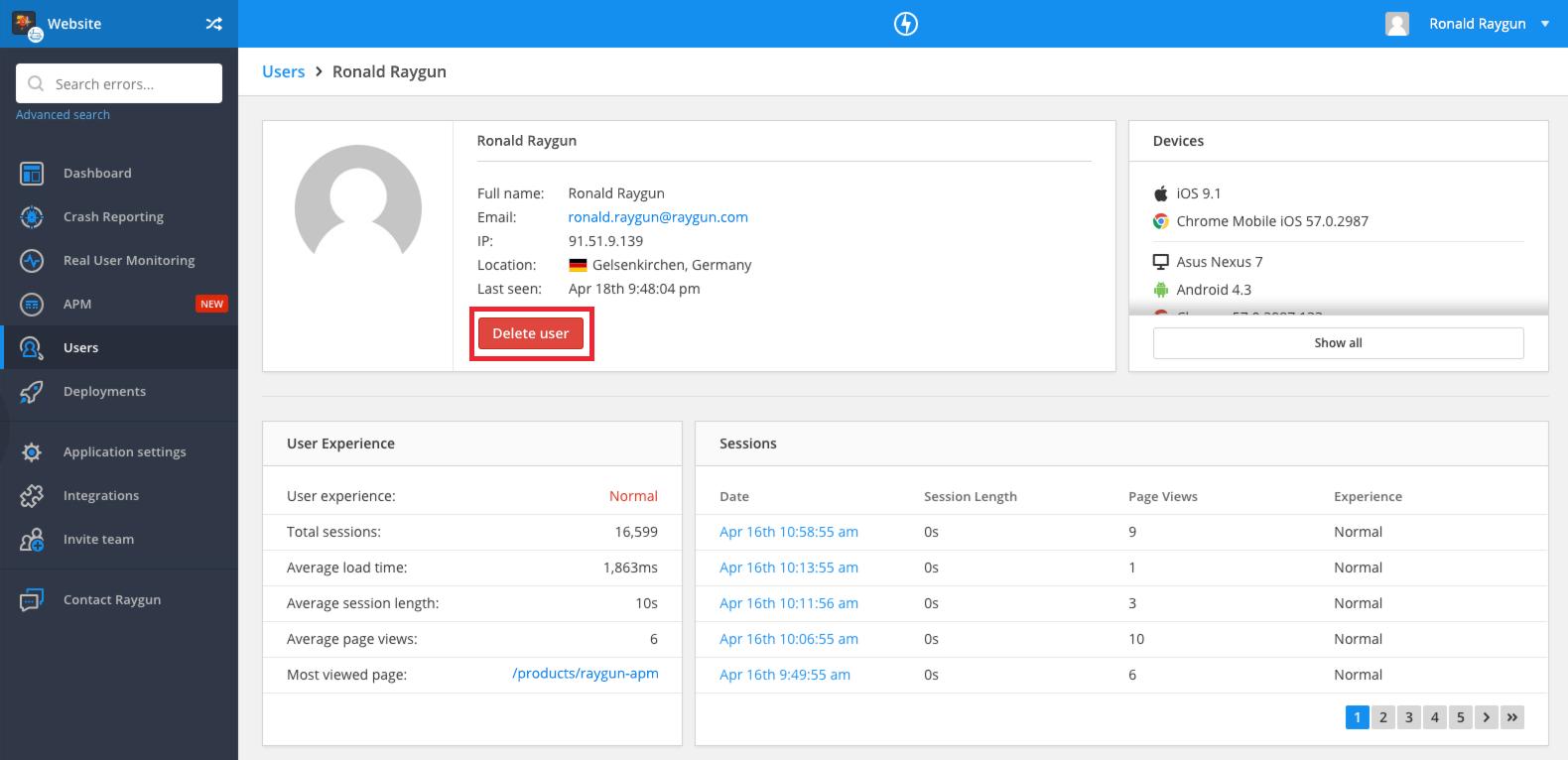 Raygun's delete user controls