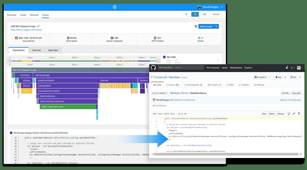 Application performance management flamechart to github