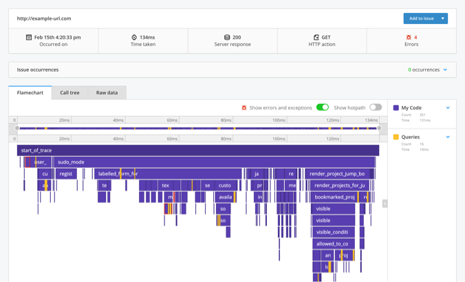 Ruby APM trace view with a flame-chart.