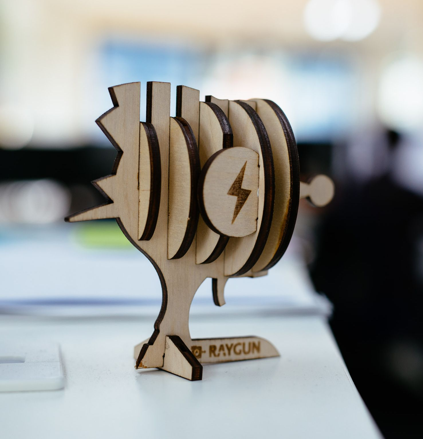 Raygun logo wooden model cutout