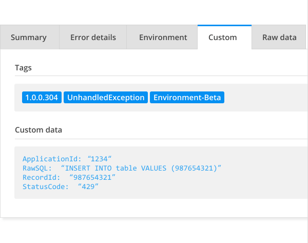 Error tracking custom data functionality