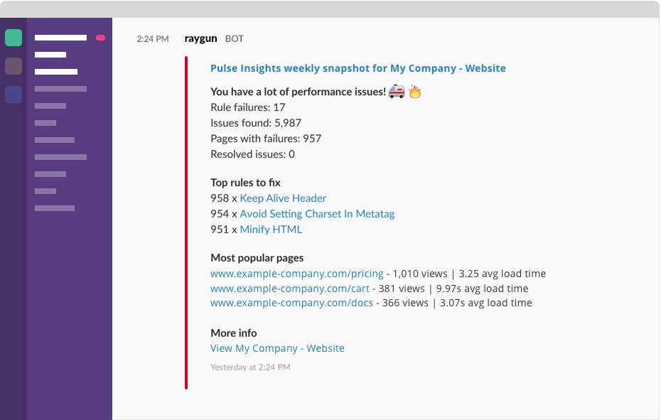 Application performance stats in Slack