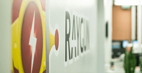 Raygun logo on wall