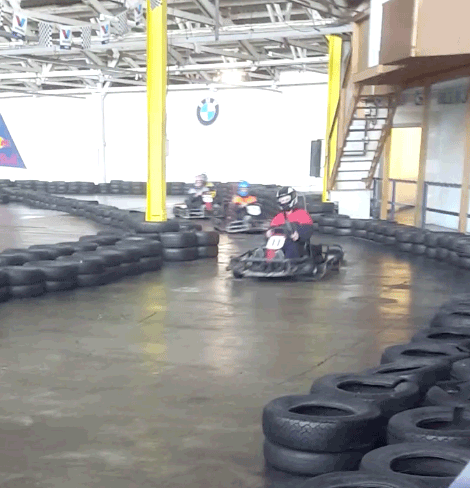 Jerms racing a go kart